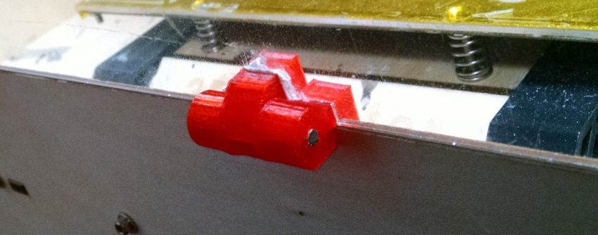 Close up of a window hinge on a makerbot replicator clone
