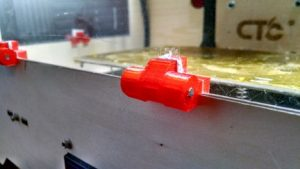 Close up of CTC Replicator clone acrylic window hinge.