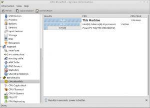 picture of hardinfo running on Ubuntu