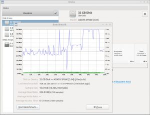 Gnome Disks window in the background with a benchmark of an SDD in the foreground.