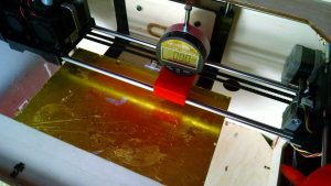 A 3D printer jig showing zero positioned over a leveling point on a CTC 3D printer