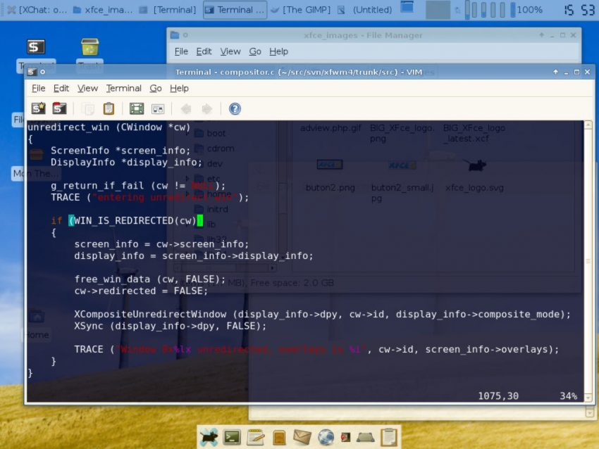 XFCE-4.4-1 desktop showing an open terminal window