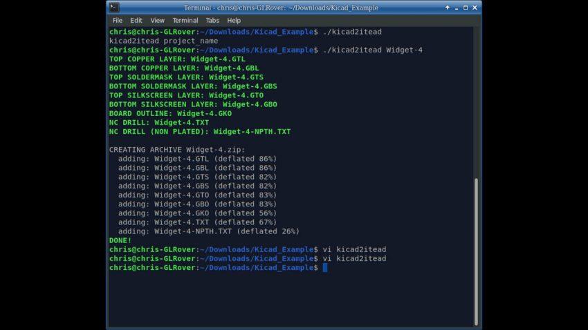 kicad2itead script running