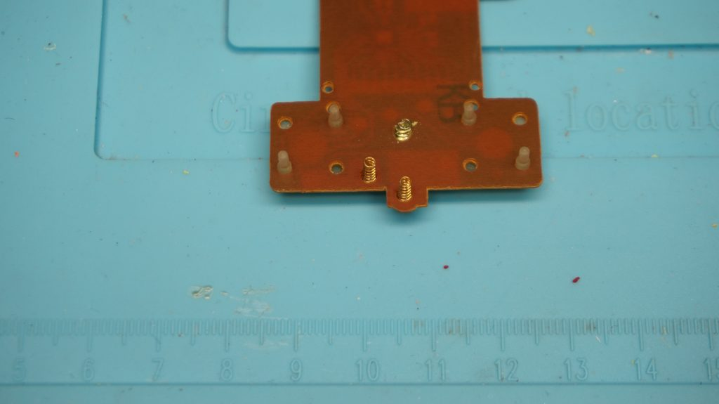 Knuckles Soccer Sega Game Circuit Board Backside showing spring electrical connectors close up