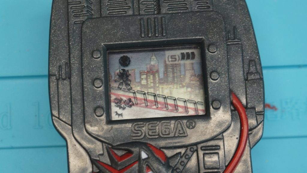 Screen turn-on showing all pixels on of Shadow the Hedgehog LCD handheld Game